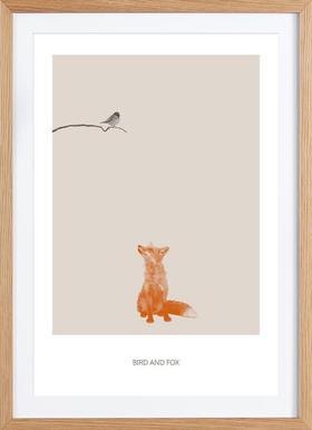 Bird And Fox - Affiche sous cadre en bois