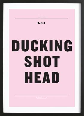 Ducking Shot Head affiche sous cadre en bois