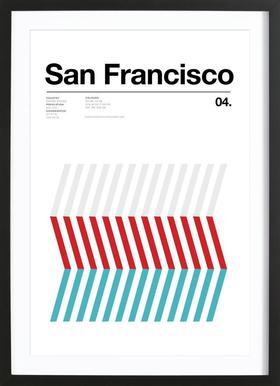 San Fran affiche sous cadre en bois