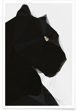 Geometric Black Panther Poster