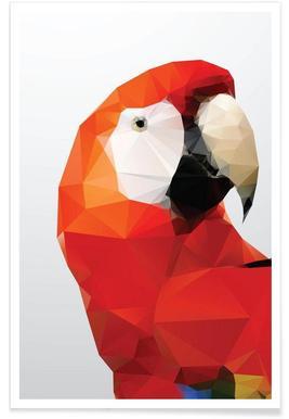 Geometrischer Papagei-Rot -Poster
