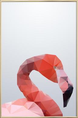 Geo Flamingo Poster in Aluminium Frame