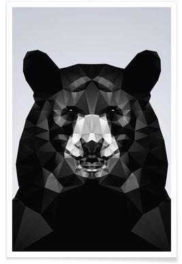 Geometric Black Bear Poster