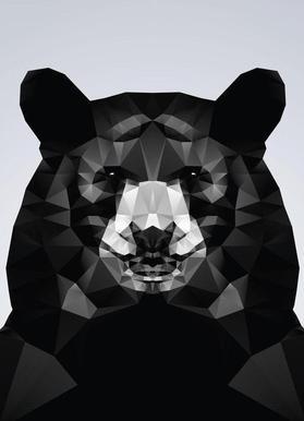 Geo Black Bear Canvas Print