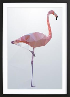 Flamingo -Bild mit Holzrahmen