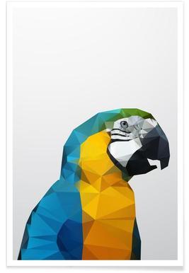 Geometrischer Papagei-Gelb -Poster