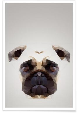 Geometric Pug Poster