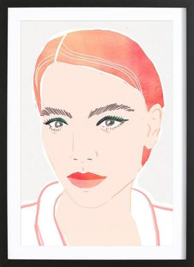 Girl With Red Hair affiche sous cadre en bois