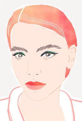 Girl With Red Hair tableau en verre
