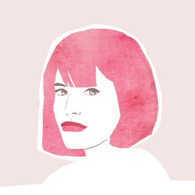 Pink Hair Girl tableau en verre