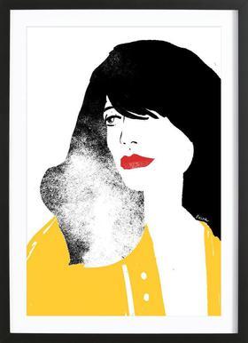 French Girl affiche sous cadre en bois
