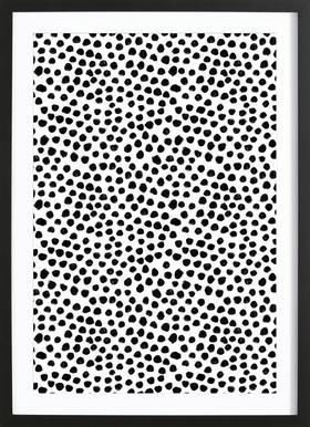 Small Dots affiche sous cadre en bois