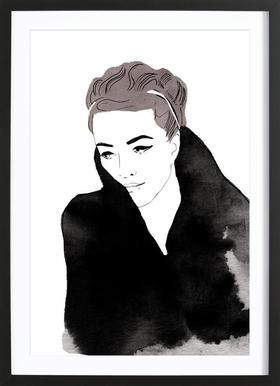 Lady In Black affiche sous cadre en bois