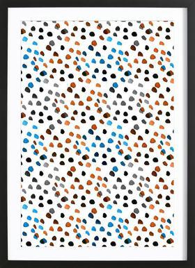Small Colourful Dots affiche sous cadre en bois
