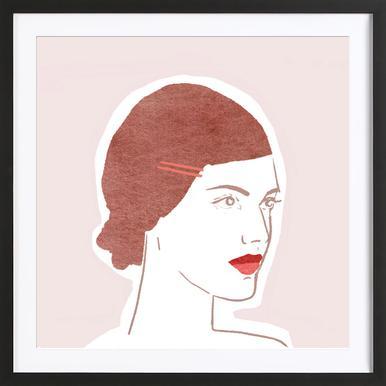 Girl With Hairclip affiche sous cadre en bois