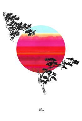 Japanese Sun tableau en verre