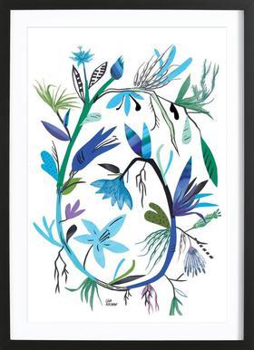 Botanica Clematis White affiche sous cadre en bois