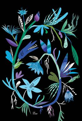 Botanica Clematis Black tableau en verre