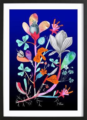 Botanica Blue affiche sous cadre en bois
