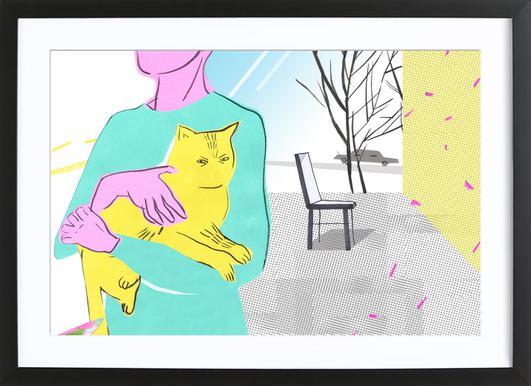 Woman with the Spoiled Cat affiche sous cadre en bois
