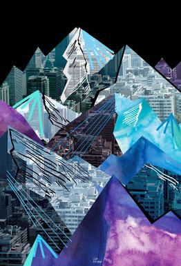 Lost Cities Mountains Impression sur alu-Dibond
