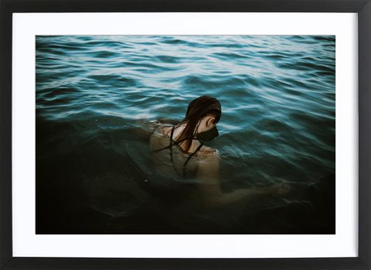 Drowning -Bild mit Holzrahmen