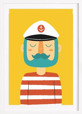 Ahoy Sailor - Poster in Wooden Frame