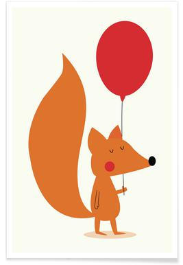 Fox with a Red Balloon poster