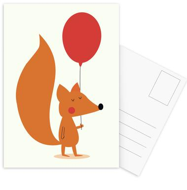 Fox with a Red Balloon -Postkartenset