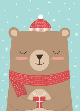 Merry Christmas Bear -Leinwandbild