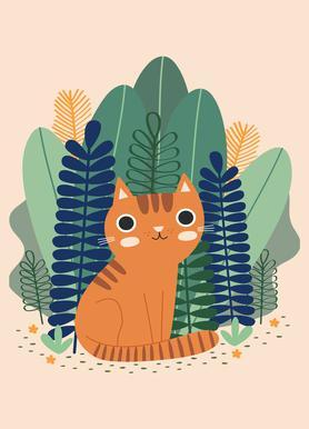 Orange Garden Cat -Leinwandbild