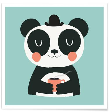 Panda Loves Coffee Poster