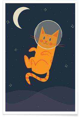 Floating Space Cat poster