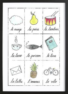 Petit cours de français 1 affiche sous cadre en bois