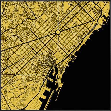 Barcelona Yellow -Bild mit Kunststoffrahmen