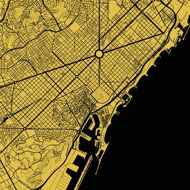 Barcelona Yellow -Acrylglasbild