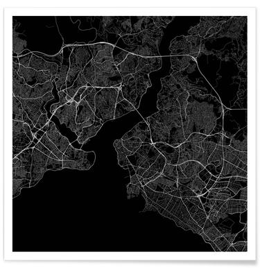 Traffic Istanbul Black Poster