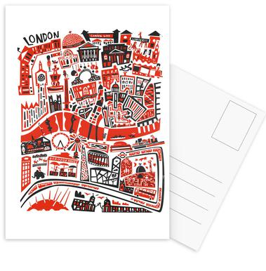 Busy London Map Postcard Set