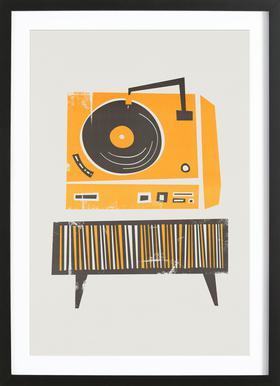 Vinyl Junkie - Affiche sous cadre en bois