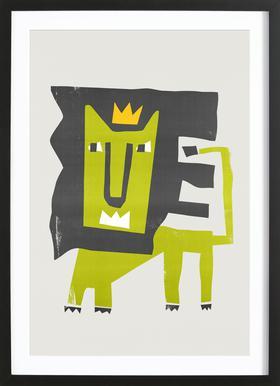 King Lion -Bild mit Holzrahmen