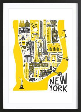 New York Map -Bild mit Holzrahmen