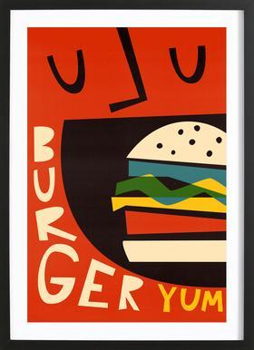 Yum Burger ingelijste print
