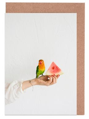 Watermelon And Parrot Greeting Card Set