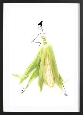 Corn affiche sous cadre en bois