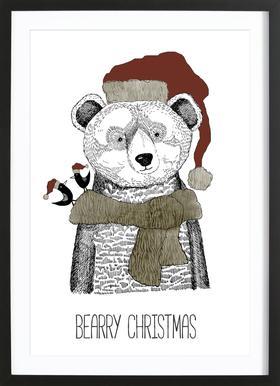 Bearry Christmas Poster i träram