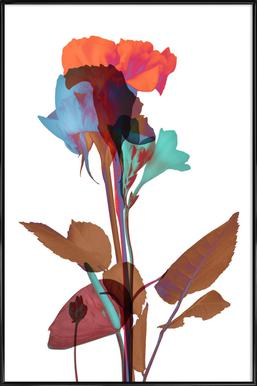 Ode aux Fleurs (Orange-Blue-Mint) - Poster in Standard Frame