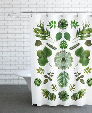 Green Collage -Duschvorhang
