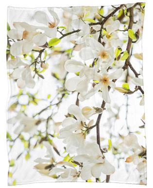 Magnolia Tree White -Fleecedecke