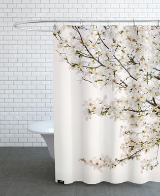 Magnolia White Shower Curtain