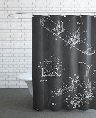 Modern Snowboard Shower Curtain